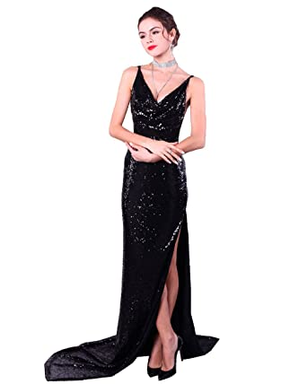 Missord Women Fashion Halter Backless Slit Mermaid Prom Dress Evening Gown black XS