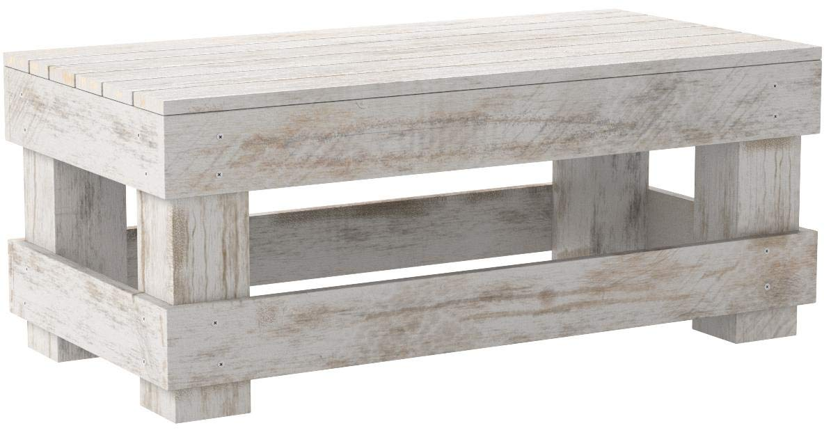 Del Hutson Designs - Rustic Barnwood Coffee Table, USA Handmade Reclaimed Wood (White) by Del Hutson Designs
