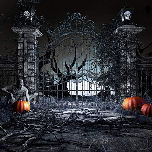 KSZUT 10x10FT Scary Halloween Photography Backdrop Pumpkin Old Tree Horrible Door Zombie Night Background Studio Props DZ-686 -