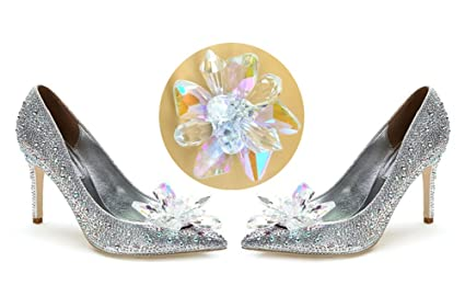 Image Unavailable. Image not available for. Color  QTMY 1 Pair Crystal  Flower Shoe Decoration Accessories for Women ... 347bbc893910