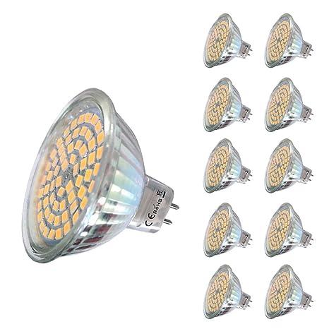 10 piezas 220V 5W MR16 Bombilla LED 60 SMD 2835 430 lm Blanco cálido
