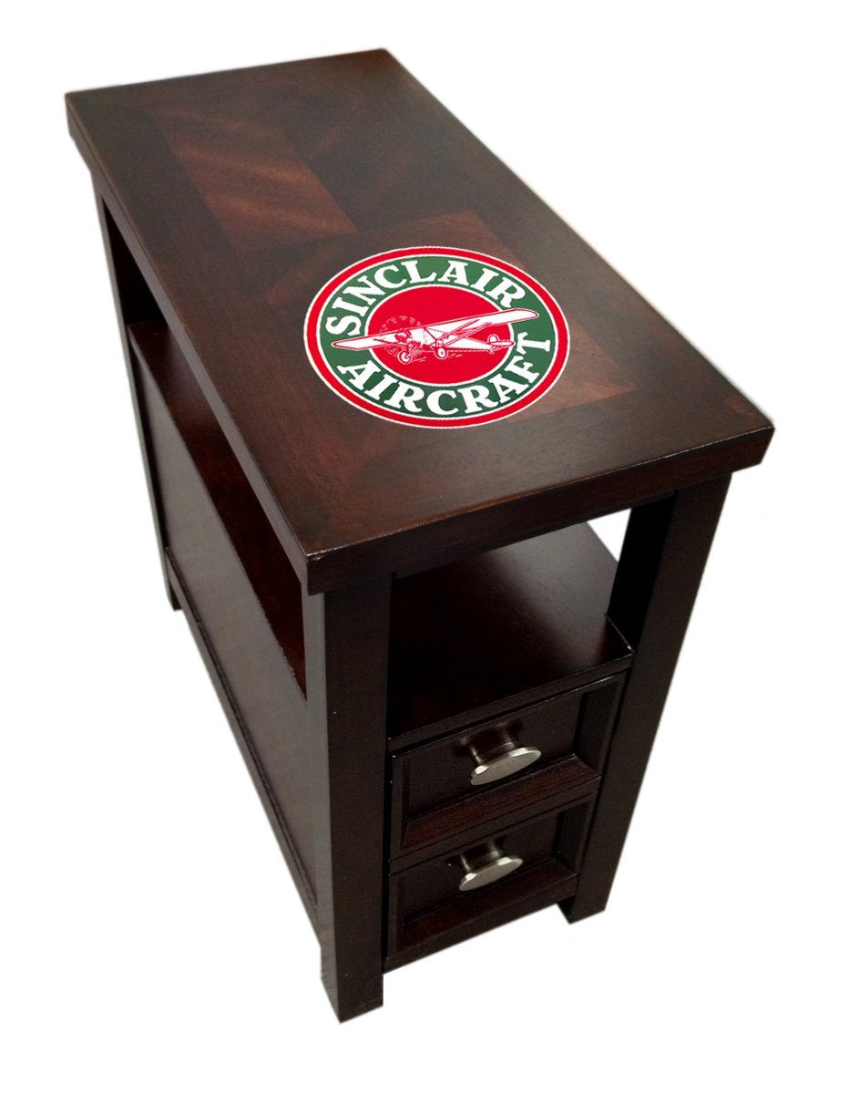 New Cappuccino / Espresso Finish Wooden End Table Night Stand with Bottom Drawer with Sinclair Aircraft Theme!