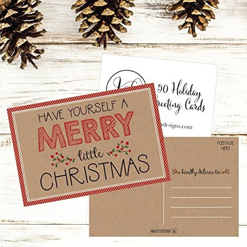 50 Kraft Holiday Greeting Cards, Cute Fancy Blank Winter Christmas Postcard Set, Bulk Pack of Premium Seasons Greetings Note, Happy New Years Cards for Kids, Business Office or Church Thank You Notes Photo #7