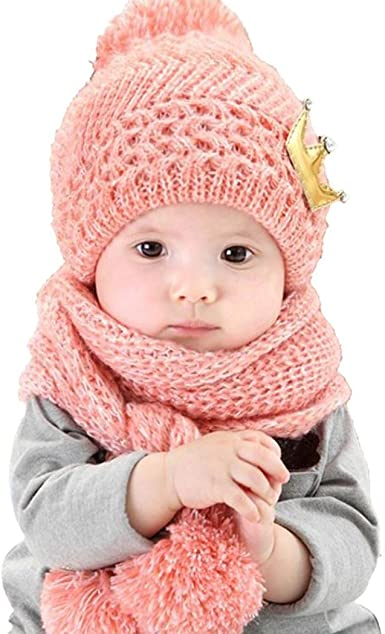 Memela Baby Winter Scarf,Baby Boys Girls Knit Hats Winter Skiing Winter Caps with Warm O-Ring Baby Scarf Neck Warmer