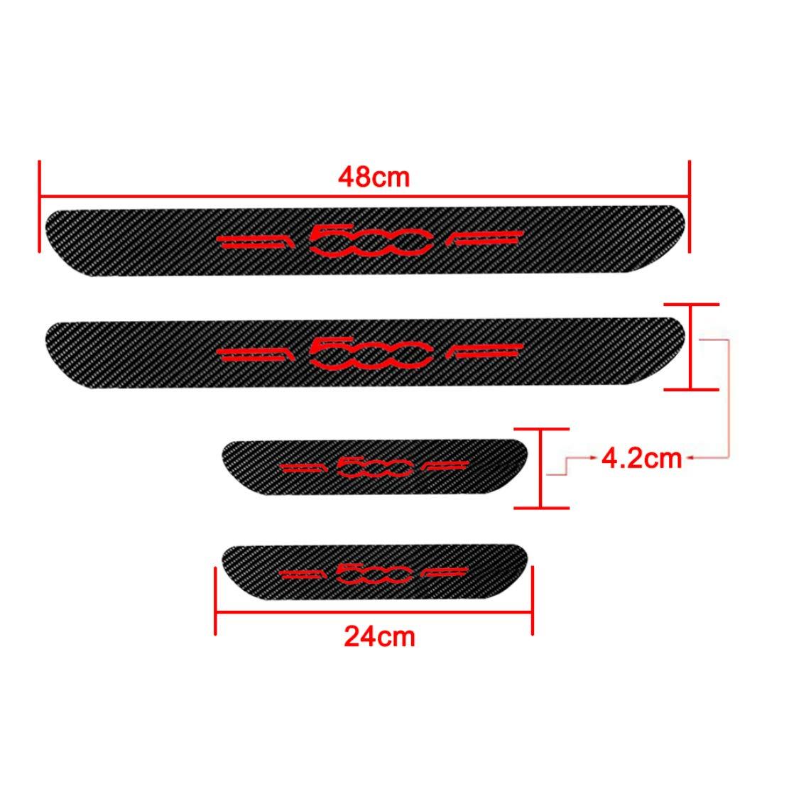 For 500 Car Door Sill Scuff Plate Guard Sills Protector Trim Carbon Fiber Stickers 4pcs White