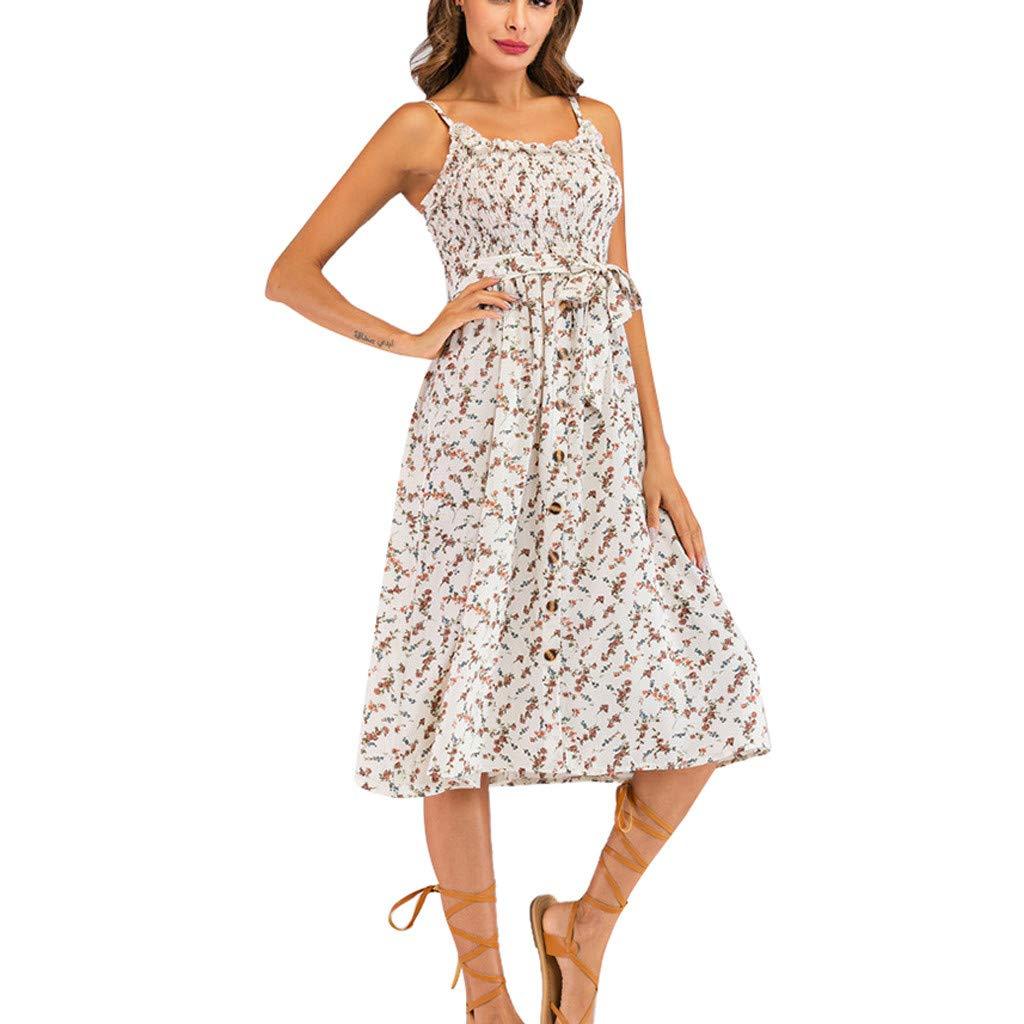 Chaofanjiancai Women's Dresses - Summer Boho Dress Floral Print Button Down A-Line Midi Dress with Belt and Pockets (M, White06)