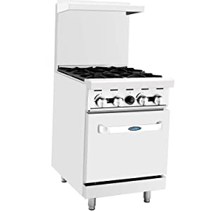 "CookRite Commercial Natural Gas Range 24"" 4 Burner Hotplates With Standard Oven - 124,000 BTU"