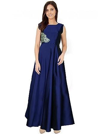 fd644219599 Holyday Women s Western Wear Cotton Silk Plain Gown Stitched (Blue