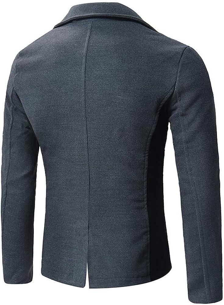 Koolsants Mens Winter Fleece Windproof Jacket Gentle Band Collar Single Breasted Wool Blend Pea Coat