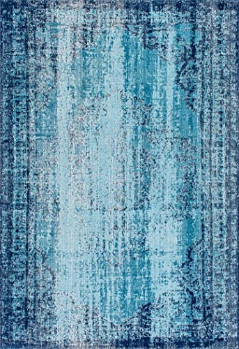 nuLOOM Damask Faded Eclectic Area Rug, 5 x 7 5 , Blue