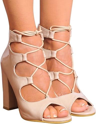 Shoe Closet Nude Patent Lace Ups Peep