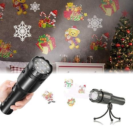 Proiettore Luci Di Natale Amazon.Proiettore Lampada Led Natalizia Sendow 12 Diapositive Patterns Led Proiettore Luci Natalizie Luci Per Esterni Con Treppiede Portatile Handheld