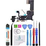 OmniRepairs-Charging Lightning USB Dock Port Flex Cable Replacement with Microphone, Headphone Audio Jack Assembly For iPhone 5c Model A1532 and A1456 with Repair Toolkit