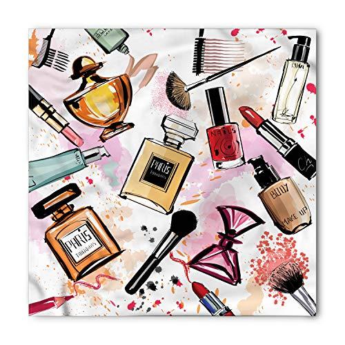Ambesonne Unisex Bandana, Fashion Cosmetics Make Up Theme, Coral White -
