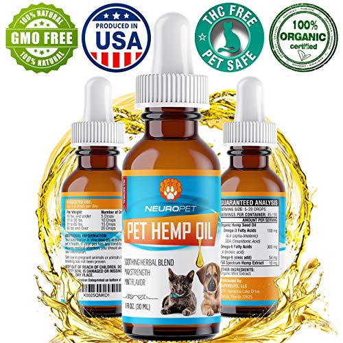 Hemp Oil for Dogs & Cats - 1800mg - 100% Organic Hemp Oil w/ Omega 3, 6, 9 & Mint Flavoring for Anxiety Relief, Hip & Joint Support, Heart Support, Stress Relief, and Pet Relaxation - Grown & Made in