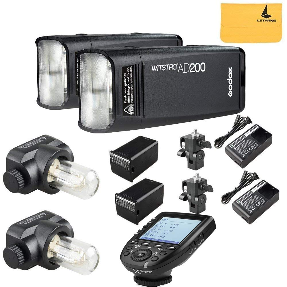 GODOX AD200 TTL 2.4G HSS 1/8000s 2Pcs Pocket Flash Light Double Head 200Ws with 2900mAh Lithium Battery+GODOX XPro-C Flash Trigger Compatible for Canon Cameras by Godox