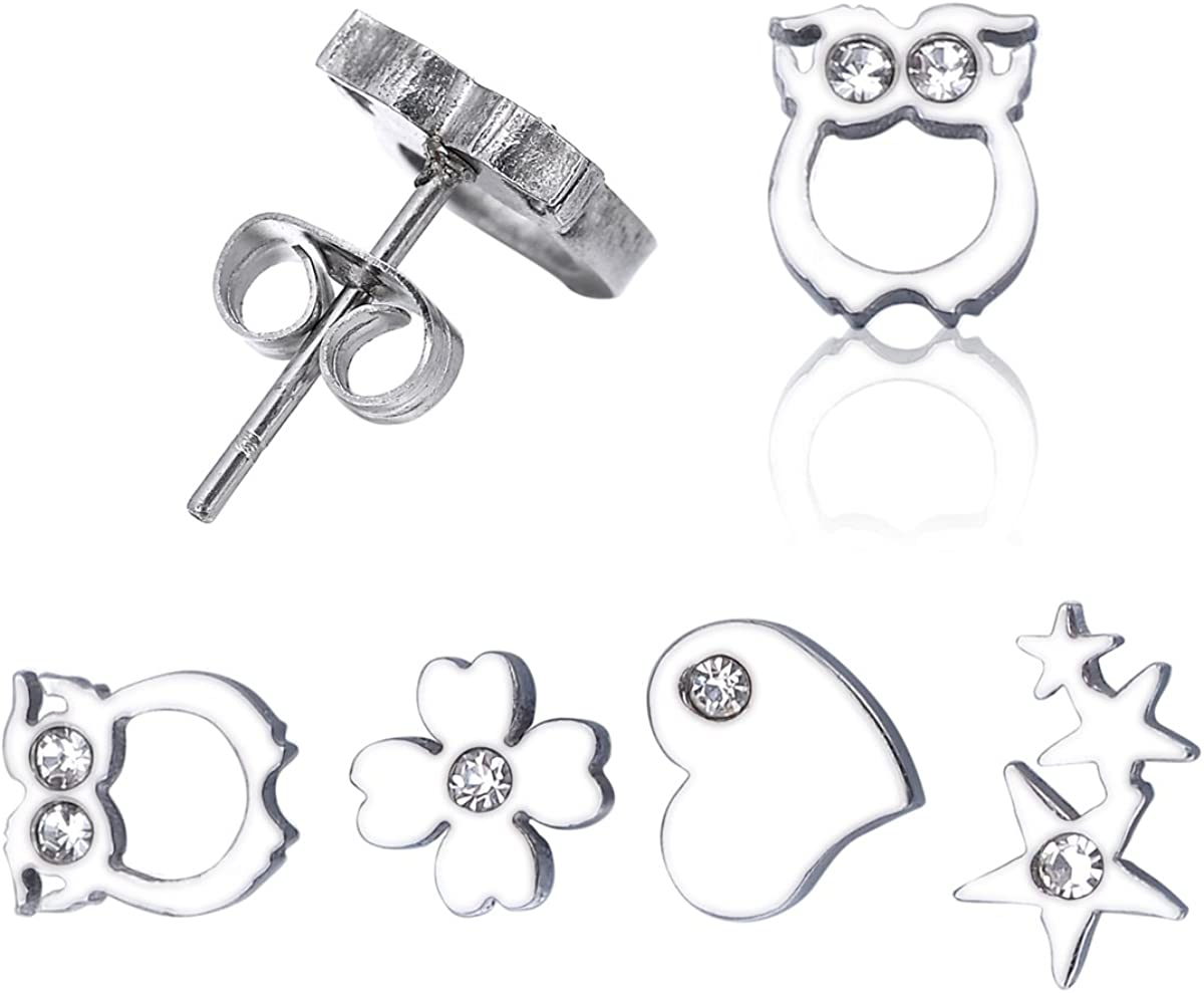 K-Y Juego de 4 pares de pendientes de acero inoxidable con diamantes de imitación, diseño de búho, corazón, estrella, trébol, joyería hipoalergénica