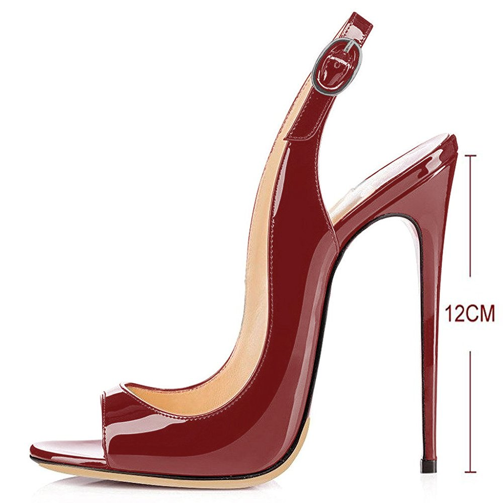 Modemoven Women's Patent Leather Pumps,Peep Toe Heels,Slingback Sandals,Evening Shoes,Cute Stilettos B06WP5BC6K 12.5 B(M) US|Red Wine
