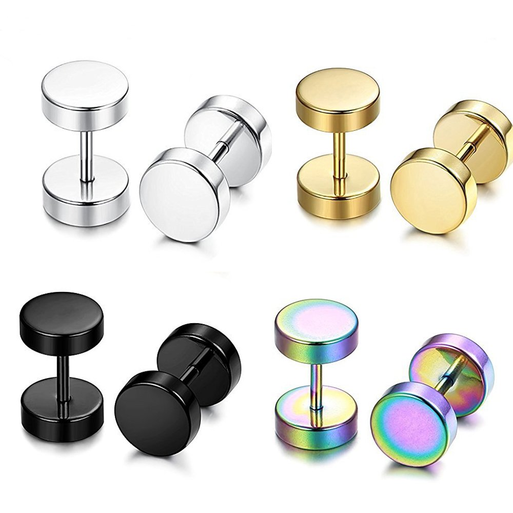 4 Pairs Stainless Steel Mens Womens Stud Earrings Faux Gauges Ear Plugs Tunnel 6-12mm TIANCI FBYJS