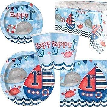 Naútico 1º Cumpleaños Vajilla para fiesta para 8: Amazon.es ...