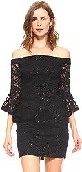 d2b95667a3 Teeze Me Women s Long Ruffle Sleeve Off-The-Shoulder Sequin Floral Lace  Dress