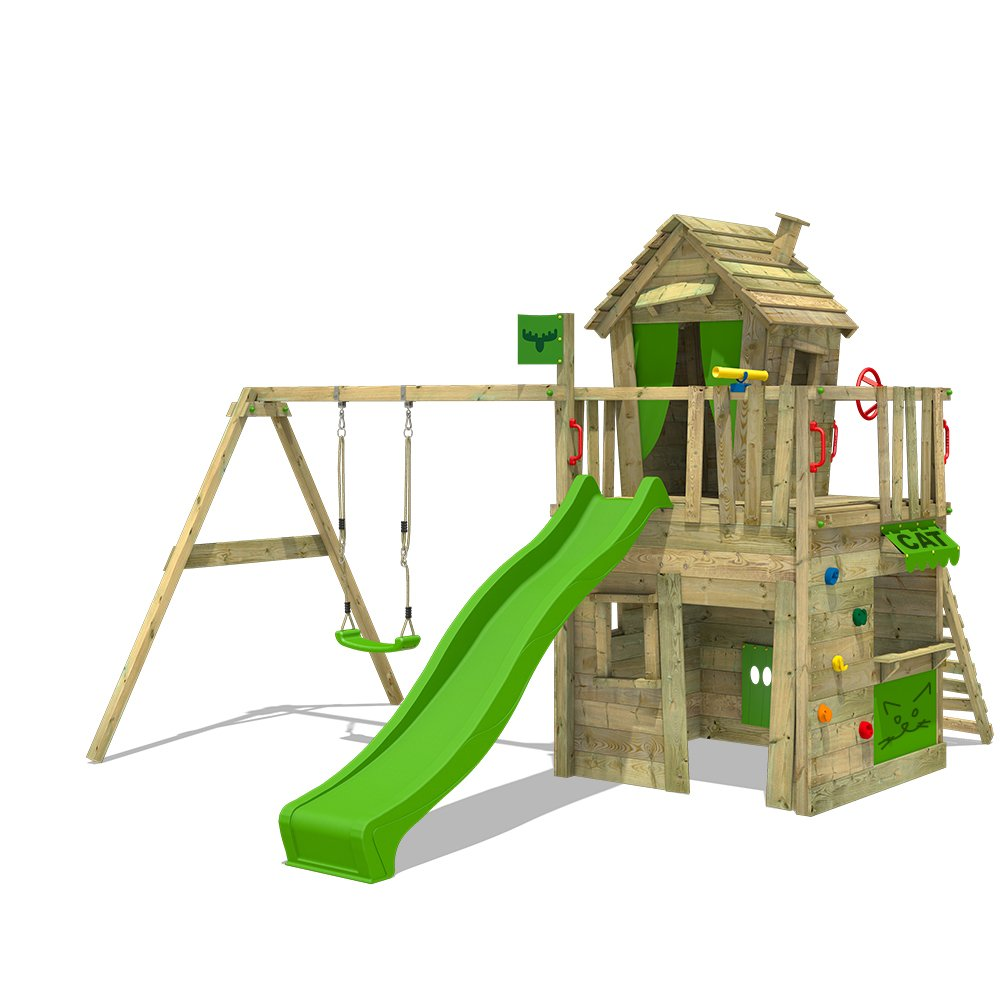 FATMOOSE Torre de escalada CrazyCat Comfort XXL Playhouse para niñ os con columpio, tobogá n y pared de escalada tobogán y pared de escalada