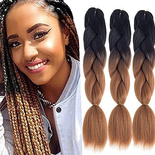 Dingxiu (3Packs,24inch) Ombre Braiding Hair Extensions Afro Jumbo Braids Synthetic Fiber Hair Two Tone Twist Braiding hair 100g/Pack (#30)