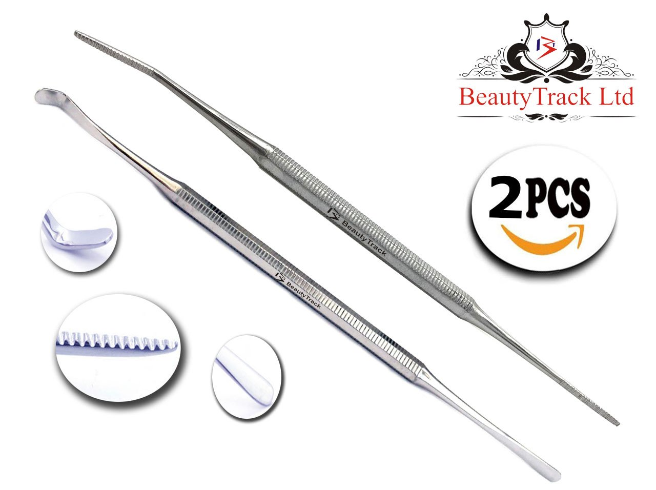 BeautyTrack Satin Edge Ingrown Toe Nail Lifter File Foot Nail Cleaner Podiatry Chiropody Stainless Steel Instruments Rust Free (Pack of 2) Nail Files - Medical Grade Hand made Foot Care Tools