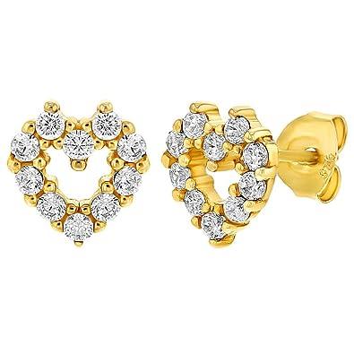 3763f937874d In Season Jewelry - 925 Plata de Ley Circonita Clara Pequeños Corazón  Abierto Aretes para Niñas 8mm  Amazon.es  Joyería