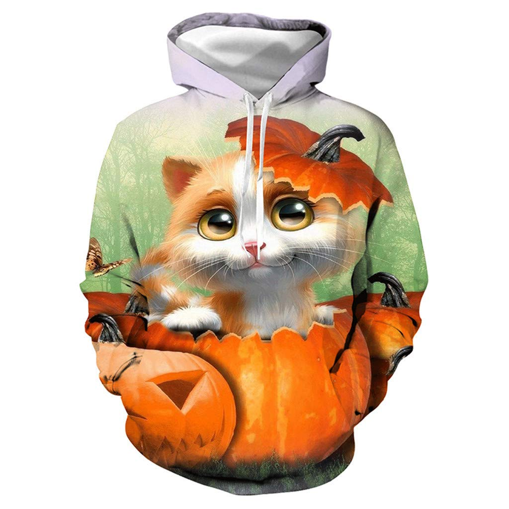 FEDULK Unisex Funny Cat Print Sweatshirt for Halloween Scary Party Long Sleeve Hooded Tops Blouse Pullover(White, XXX-Large) by FEDULK