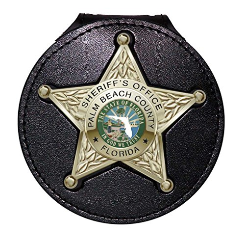(Perfect Fit Florida Sheriff 5-Point Star Badge Holder with Pocket and Chain (Black, Cutout PF185, 2.7 inches Tall))