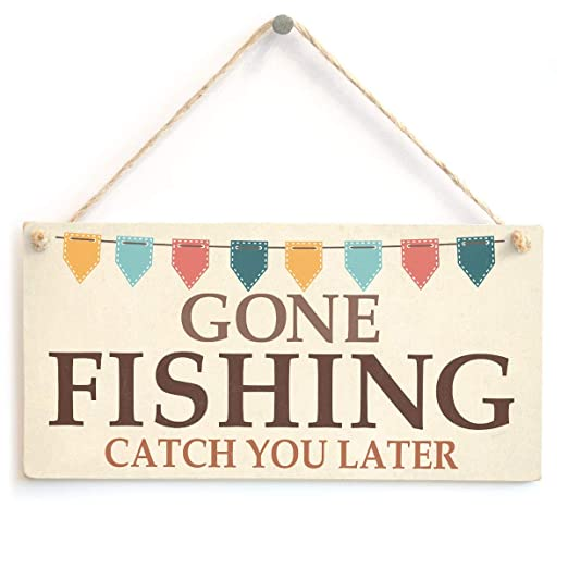 Mr.sign Gone Fishing Catch You Later Cartel de Pared Madera ...