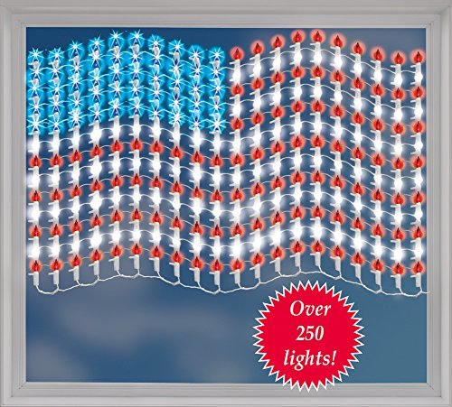 winston inc Red White Blue Large Mesh Lighted Patriotic American Wall Flag