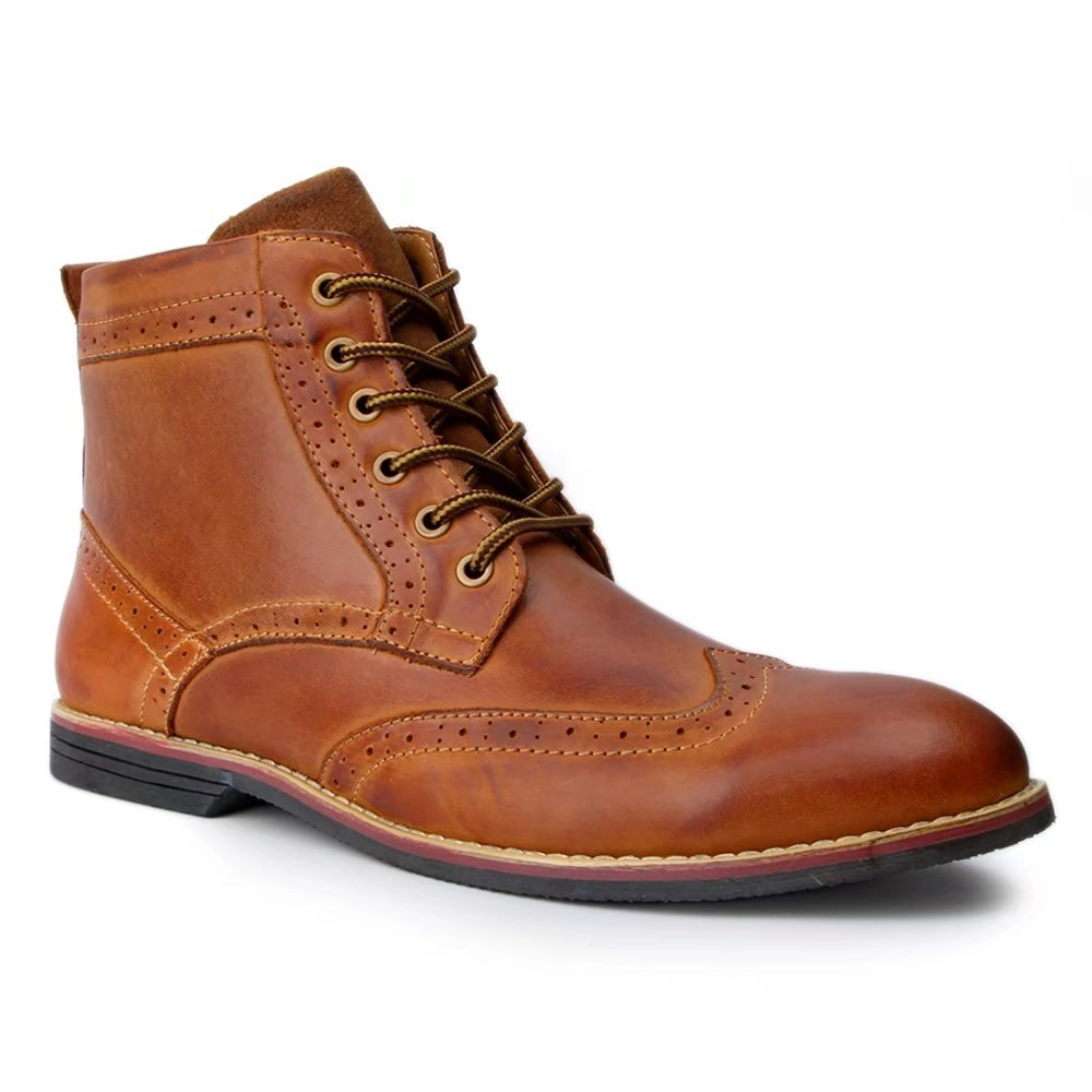 Froon Men's Leather Brogue Lace up Premuim Boot Tight US Size 12 Brown by Froon