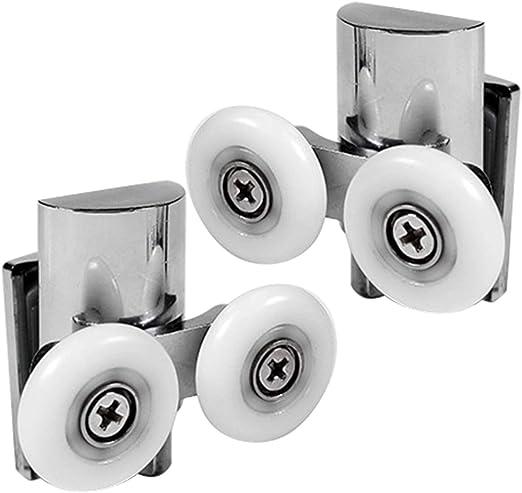 Ruiqas Rodillos para puertas de ducha poleas gemelas/guías/ruedas con bloque de parachoques para accesorios de reemplazo de puertas de ducha deslizantes planas y curvas: Amazon.es: Bricolaje y herramientas