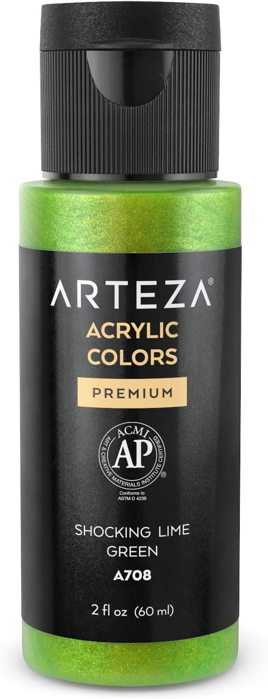 Arteza Iridescent Acrylic Paint Y9 Shocking Lime Green , 60 ml Bottle, Chameleon Colors, High Viscosity Shimmer Paint, Water-Based, Blendable, for Canvas, Wood, Rocks, Fabrics