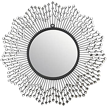 Amazon Com Lulu Decor 19 Oriental Round Silver Metal Wall Mirror