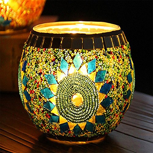 LISASTOR European Style Mosaic Glass Candle Holders For Festival Decoration (Suuny (Stained Glass Christmas Candles)