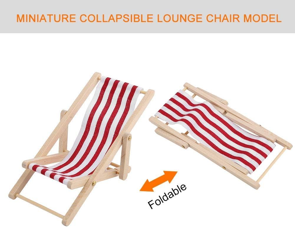 Red Stripe 1//12 Beach Chair Imitation Games Toddler Educational Development Pretend Toys Pretend Play Wooden Furniture for Kids Children Dollhouse Furniture