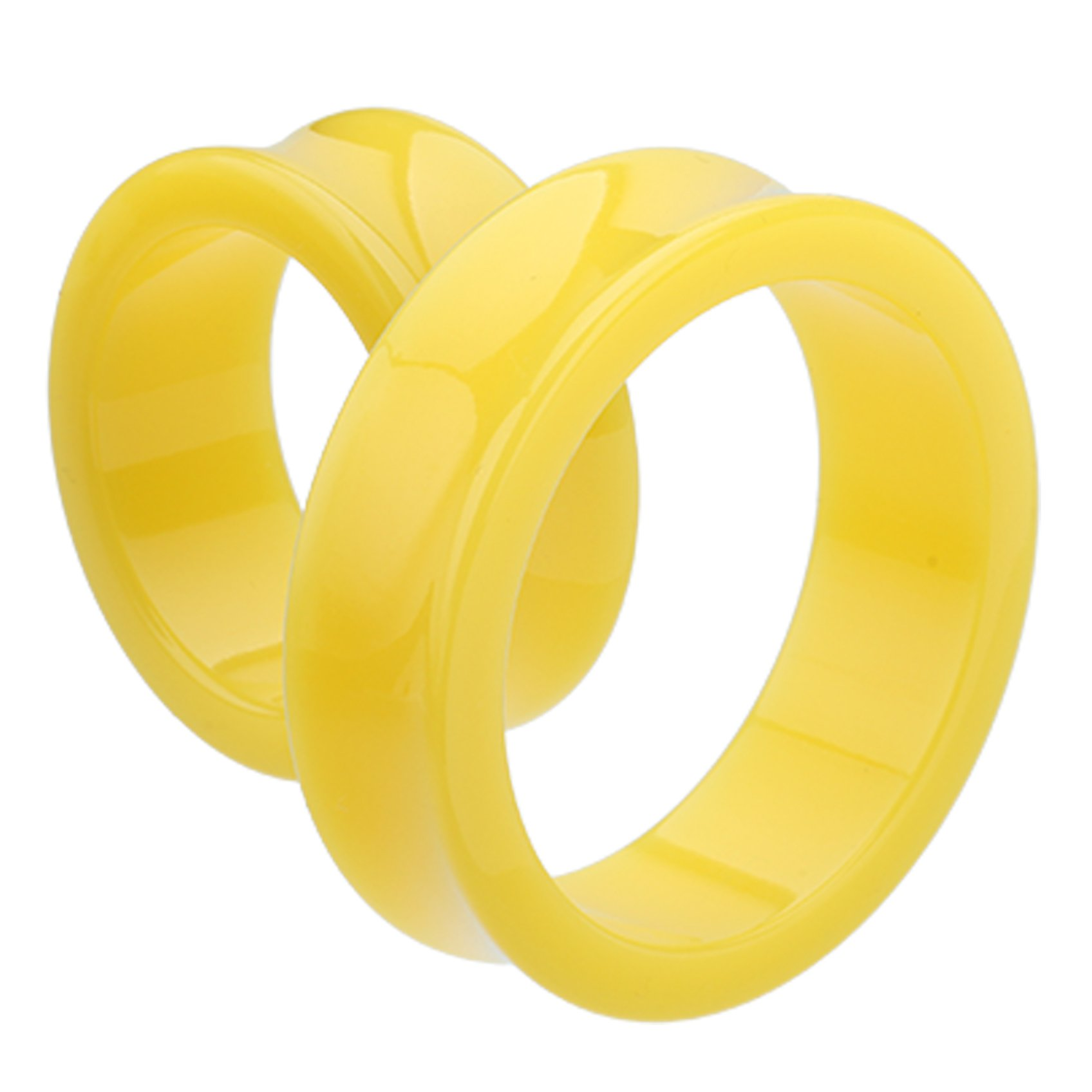 Supersize Neon Colored Acrylic Double Flared Ear Gauge Tunnel Plug - 1-1/2'' (38mm) - Yellow - Sold as a Pair by Cosmic - Plugs