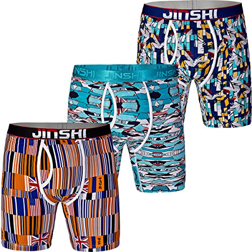 (JINSHI Men's Bamboo Fiber Ultra Soft Stretch Long Ultimate Bamboo Boxer Briefs 3 Pack Size L)