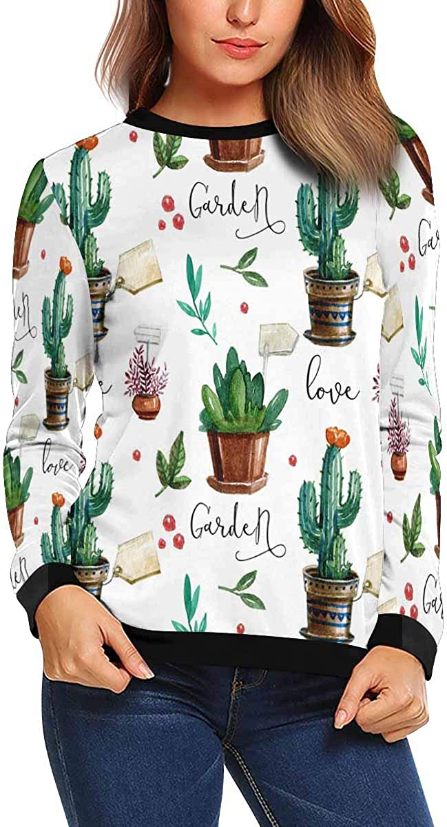 INTERESTPRINT Womens Long Sleeve Pullover Watercolor Flower Pots Crew Neck Sweatshirt XS-XL