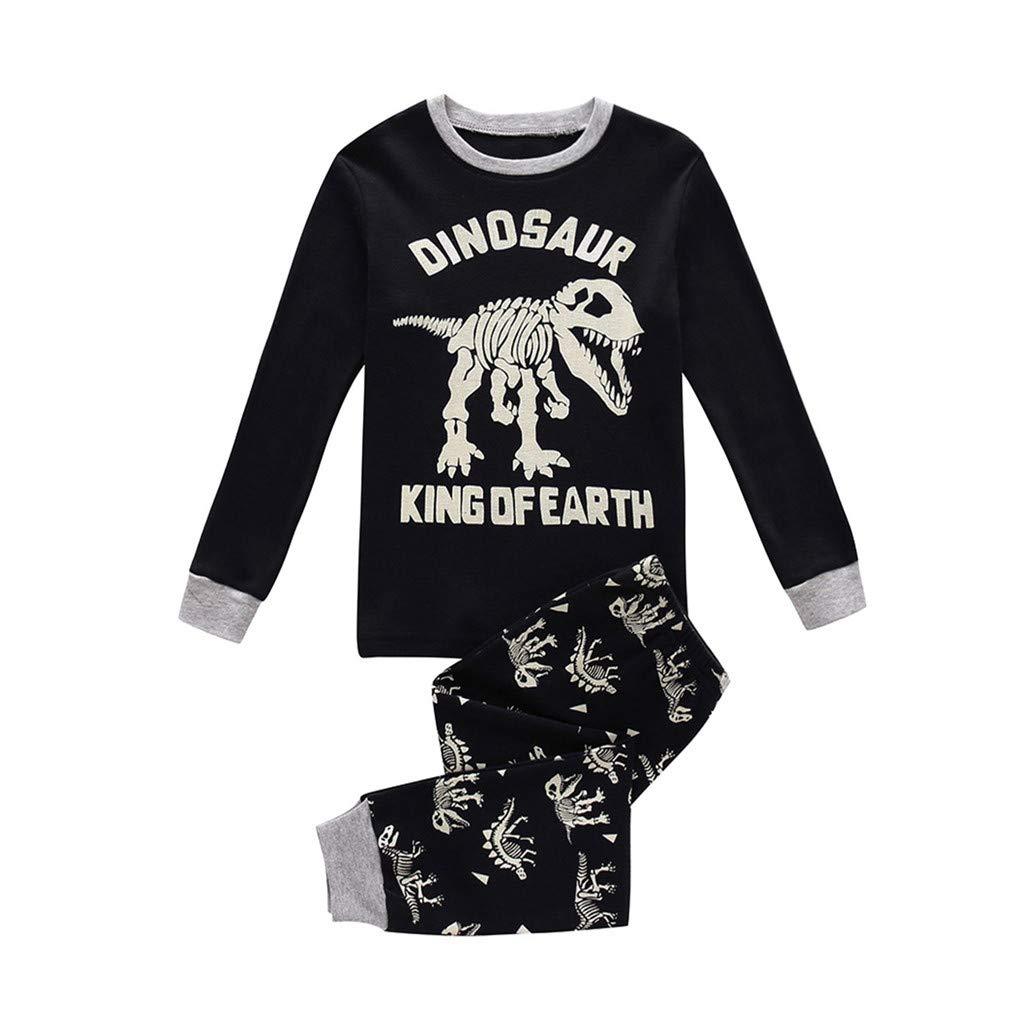 GoodLock Baby Boys Girls Fashion Pajamas Clothes Set Toddler Kids Cartoon Dinosaur Tops Pants Outfits 2Pcs (Black, 2-3 Years) by GoodLock (Image #1)