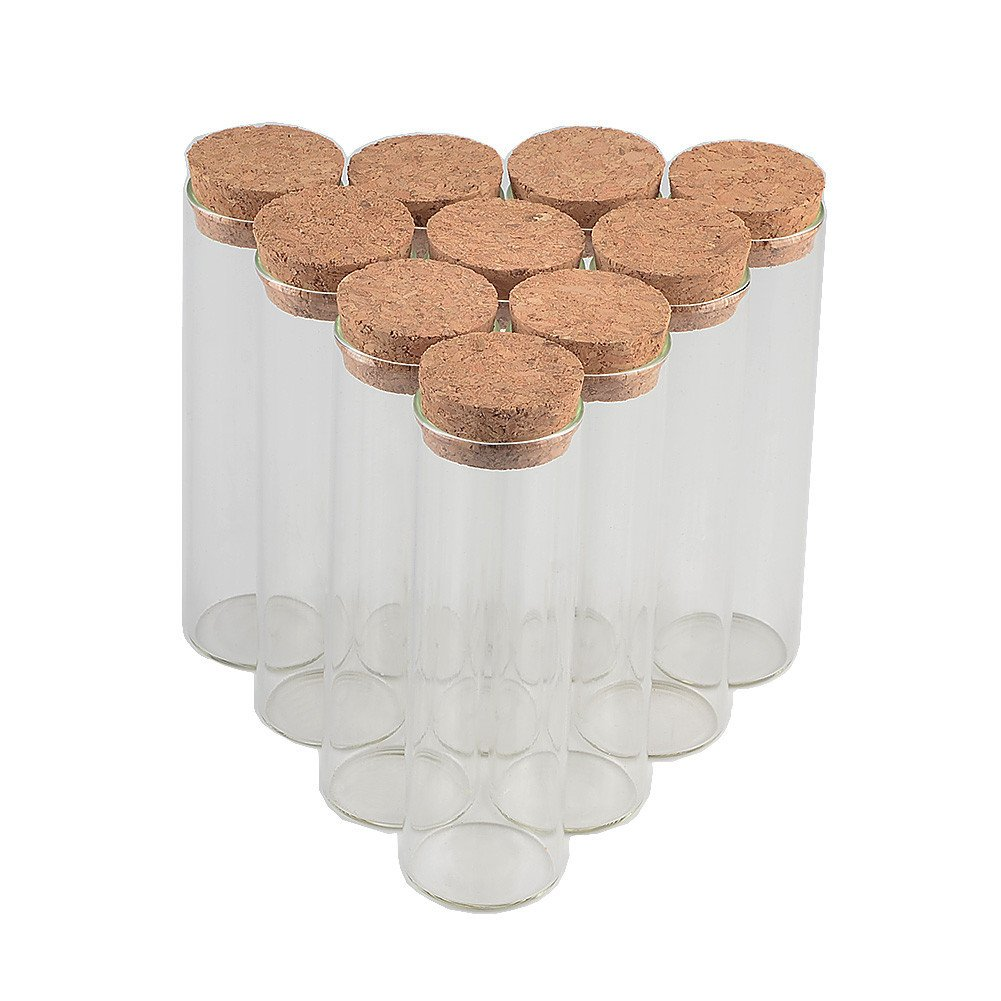 TAI DIAN 30x120mm 60ml Glass Bottles Vials Jars Test Tube with Cork Stopper Empty Glass Transparent Clear Bottles 50pcs (50, 60ml-30x120mm) by TAI DIAN