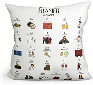 Fokongna Funny Frasier TV Show Alphabet Theme Pillow Covers Frasier TV Show Decorative Throw Pillow Case Square Cushion Cover Pillowcase for Couch Sofa Bedroom Living Dwight 18