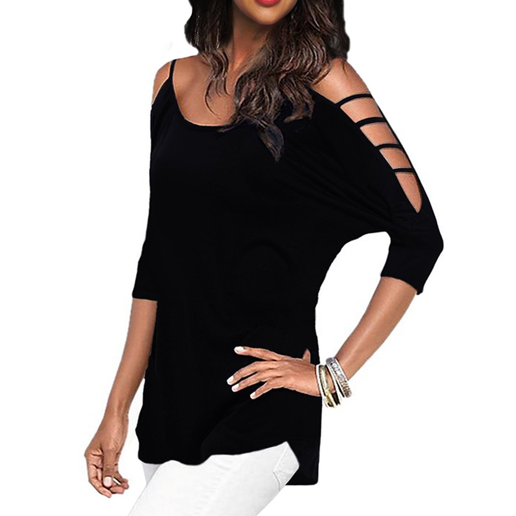 Women's Casual Loose Hollowed Out Shoulder Three Quarter Sleeve Shirts,Black,S