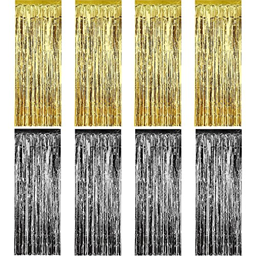 Sumind 8 Pack Foil Curtains Fringe Curtains Tinsel Backdrop Metallic Curtains for Birthday Wedding Party Photo Booth Decorations (Gold and Black)