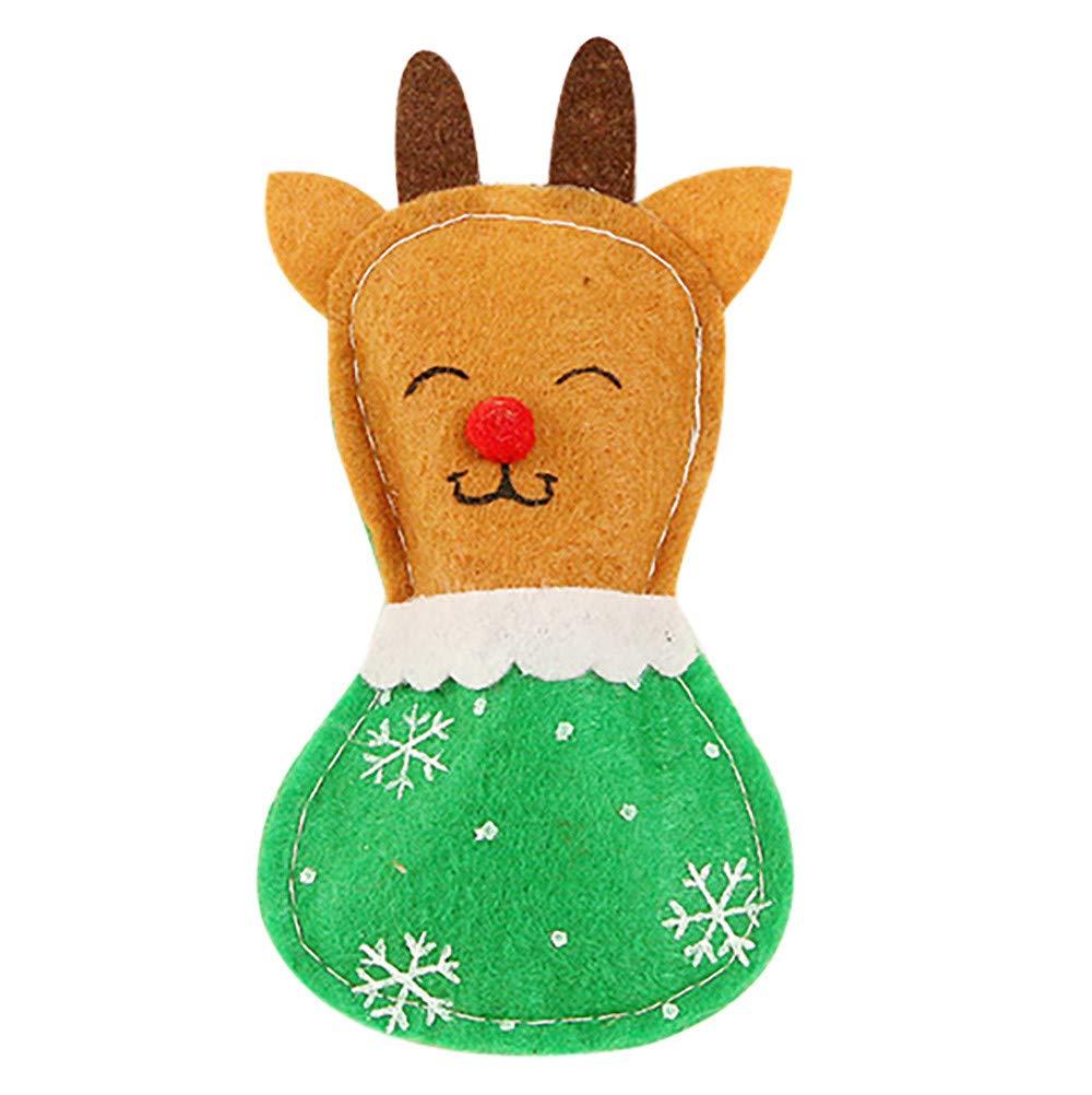 Christmas Xmas Decor Snowman Kitchen Tableware Holder Pocket Dinner Cutlery Bag (multicolour B)