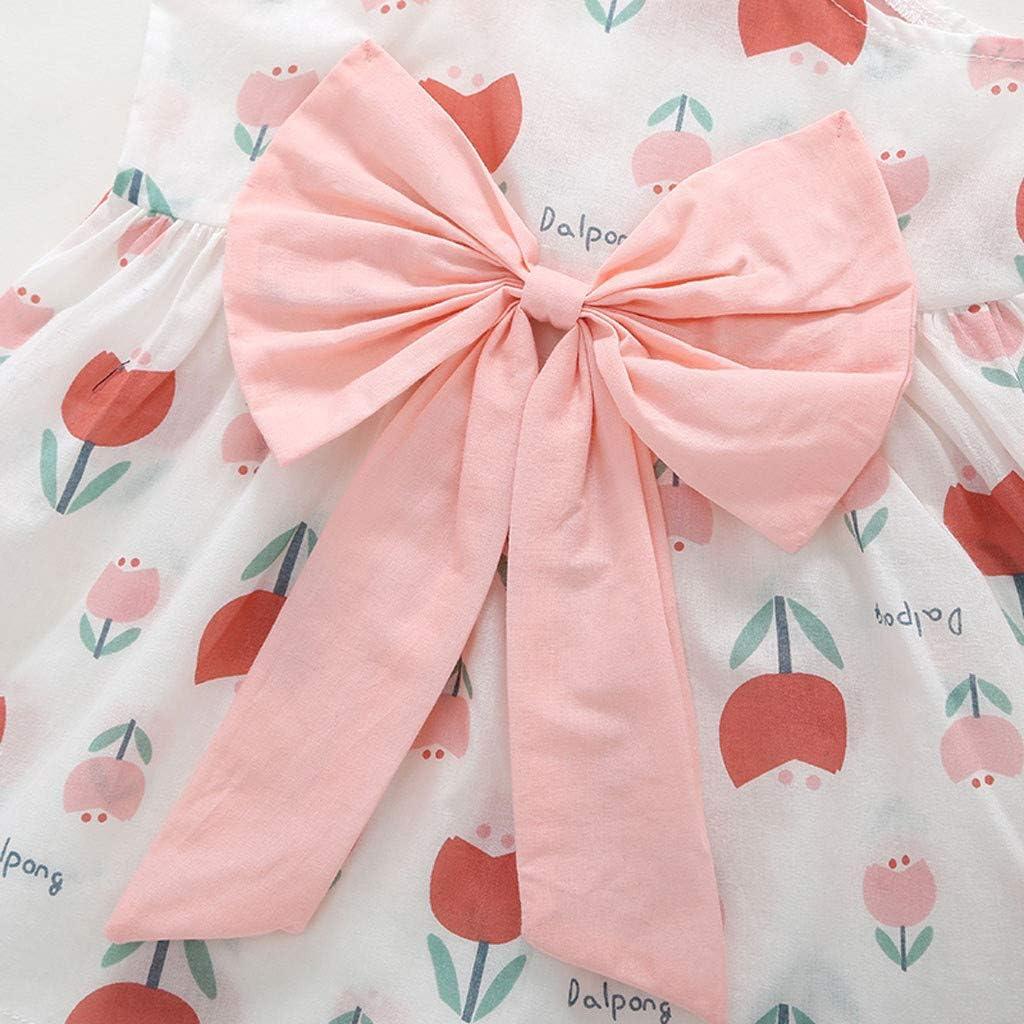 Waymine Infant Girl Suspenders Bow Flower Party Sleeveless Princess Dress 3-24M