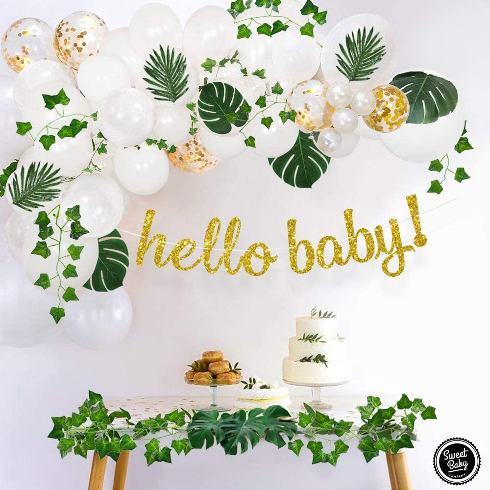 Amazon Com Sweet Baby Co Boho Fake Greenery Baby Shower Decorations Neutral With Balloon Garland Arch Kit Oh Baby Banner Green Ivy Leaf Garland Vines Decoration Decor For Jungle Safari Woodland Backdrop Theme